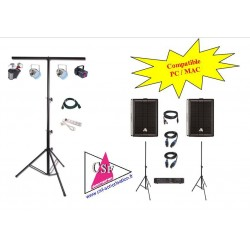 PACK SON 300 watt / LUMIERES EFFETS - pour une salle jusqu'à 50/80 personnes.