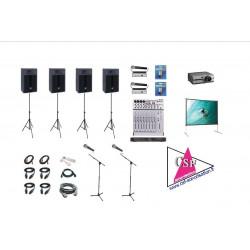 PACK CONVENTION 600 watt - AVEC VIDEO - Pour Conférence, Salon, Séminaire, etc. jusqu'à 300 personnes.